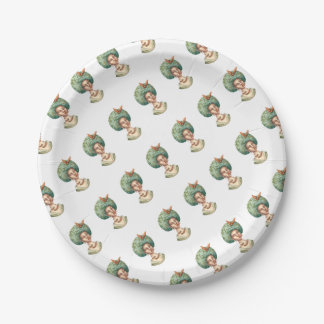 Go with the Fro -  Lady with Green Afro Unique Art Paper Plate