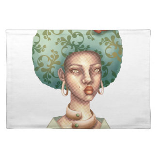 Go with the Fro -  Lady with Green Afro Unique Art Placemat