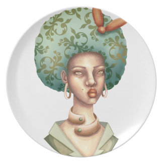 Go with the Fro -  Lady with Green Afro Unique Art Plate