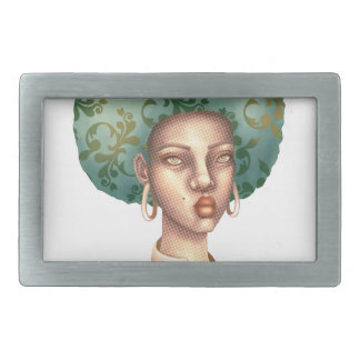 Go with the Fro -  Lady with Green Afro Unique Art Rectangular Belt Buckle