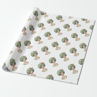 Go with the Fro -  Lady with Green Afro Unique Art Wrapping Paper