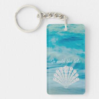 Go With The Tide Ocean Waves Diamond Seashell Key Ring
