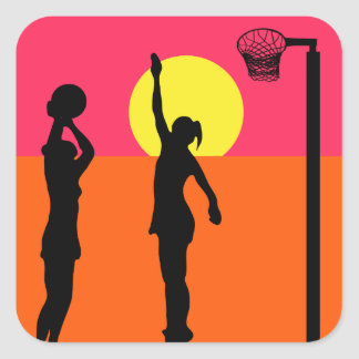 Goal Shooter Themed Design Netball Square Sticker