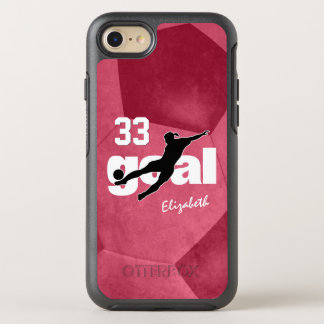 Goal women's soccer player name jersey number OtterBox symmetry iPhone 8/7 case