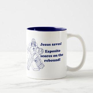 GOALIE JESUS SAVES mug