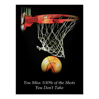 Goals Motivational Quote Basketball Poster
