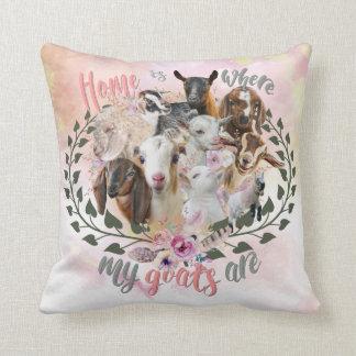 GOAT ART | Home is Where My Goats Are GetYerGoat Cushion