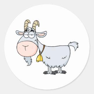 Goat Cartoon Character Round Sticker