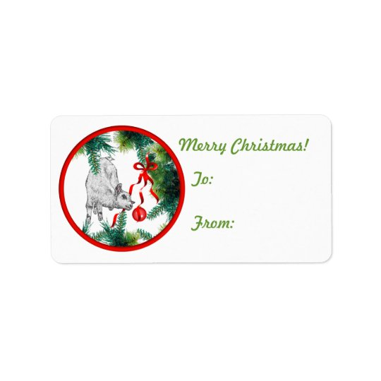 Goat Christmas Gift Tag Sticker
