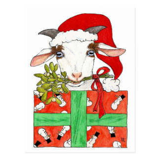 Goat Christmas postcard by Nicole Janes