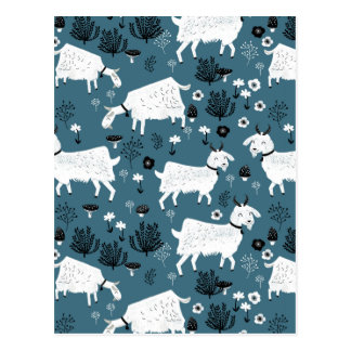 Goat Farm Animal Blue Baby Kid Boy / Andrea Lauren Postcard