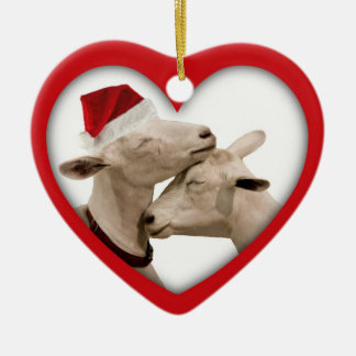 Goat Farmer Lovers Wedding or Anniversary Heart Ceramic Ornament