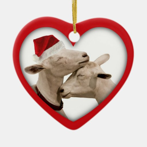 Goat Farmer Lovers Wedding or Anniversary Heart Christmas Tree Ornament