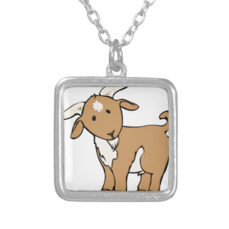 goat goatee silver plated necklace