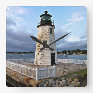 Goat Island Lighthouse, Rhode Island Square Wall Clock