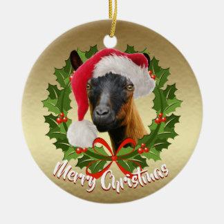 GOAT Oberhasli Dairy Goat Doe  Santa Hat Christmas Ceramic Ornament