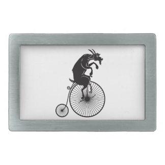 Goat on Vintage Bicycle Rectangular Belt Buckles