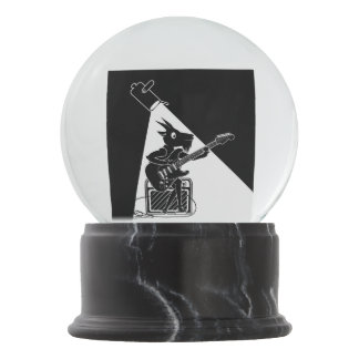 Goat playing an electric guitar snow globe