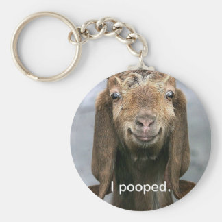 Goat pooping basic round button key ring