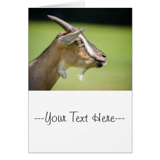 Goat Portrait On A Blurred Green Background Greeting Card