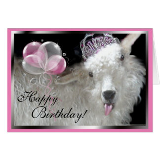 Goat Princess Happy Birthday Card