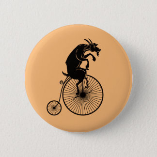 Goat Riding a Penny Farthing Bike 6 Cm Round Badge