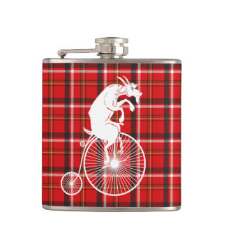Goat Riding a Penny Farthing Bike Hip Flask