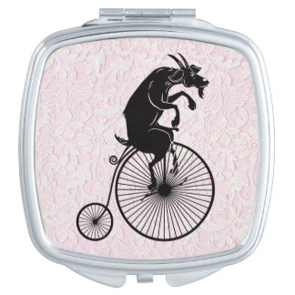 Goat Riding a Penny Farthing Bike Makeup Mirror