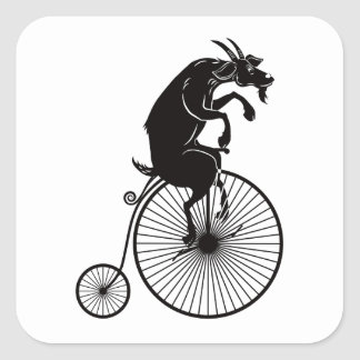 Goat Riding a Vintage Penny Farthing Bike Square Sticker