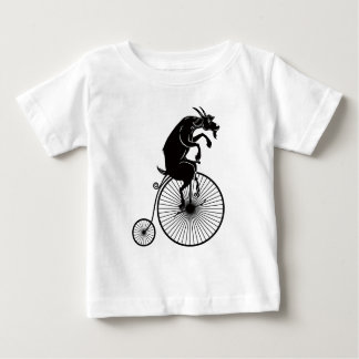 Goat Sitting on Vintage Penny Farthing Bike Baby T-Shirt