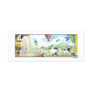 Goats and farm animals. A happy place canvas print