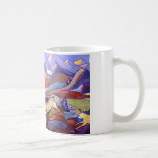 Goats and mountains basic white mug