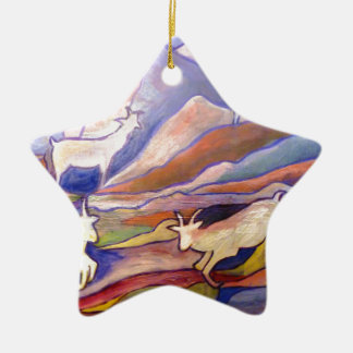 Goats and mountains ceramic star decoration