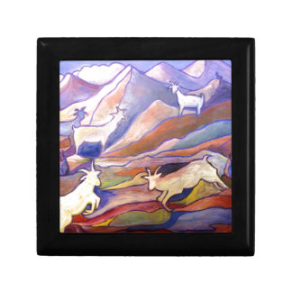 Goats and mountains small square gift box