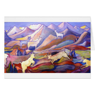 Goats and mountains greeting card