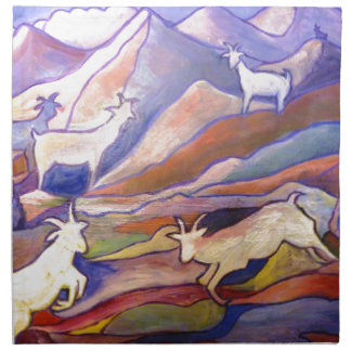 Goats and mountains printed napkin