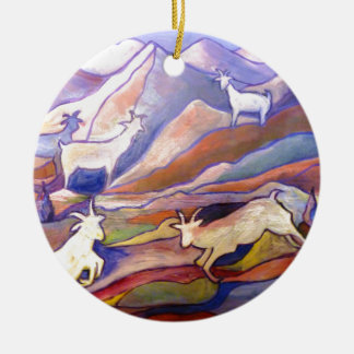 Goats and mountains round ceramic decoration