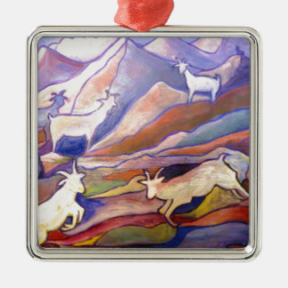Goats and mountains Silver-Colored square decoration