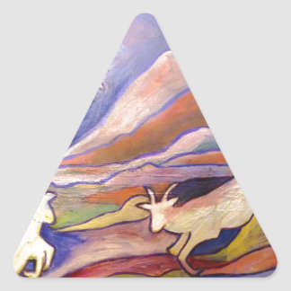 Goats and mountains triangle sticker