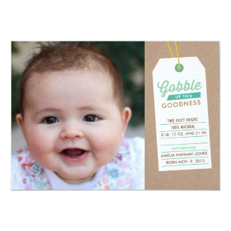 Gobble Baby Up Birth Announcement Teal