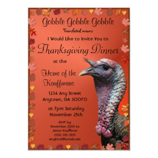 Gobble Gobble Gobble Thanksgiving Invitation Card