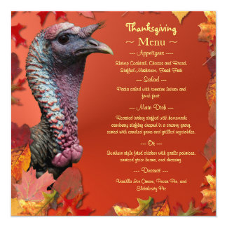 Gobble Gobble Gobble Thanksgiving Menu Card