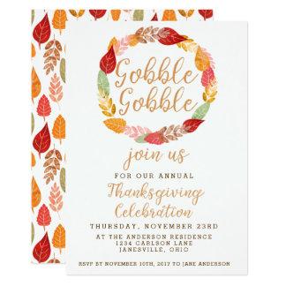 Gobble Gobble Thanksgiving Autumn Theme Card