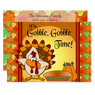 Gobble, Gobble Thanksgiving Turkey Dinner Card
