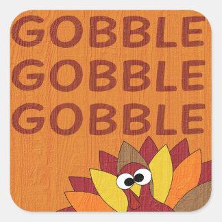 Gobble Gobble Turkey Square Sticker