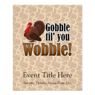 Gobble til you Wobble Funny Thanksgiving Dinner Flyer