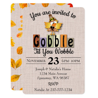 Gobble Til You Wobble Thanksgiving Card