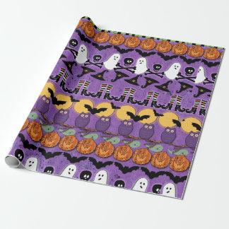 Goblins Ghosts Bats Pumpkins Halloween Gift Wrap