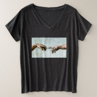 God and Adam Plus Size V-Neck T-Shirt