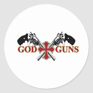 God And Guns Classic Round Sticker
